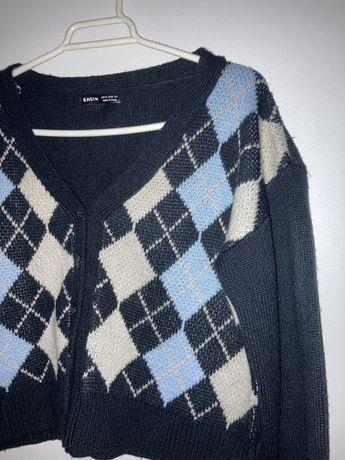 Cardigan/casaco com padrão de losangos