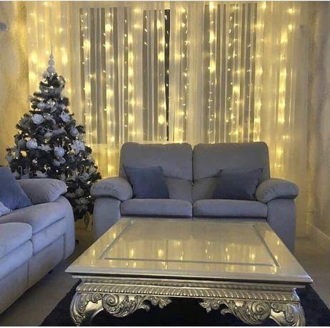 Новогодняя гирлянда,украшение,водопад,огоньки,сетка,лампочки