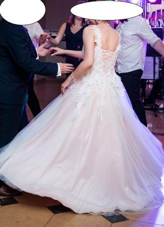 Brzoskwiniowa suknia ślubna 38 piękna koronka, halka z kołem