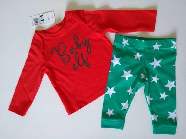 Baby elf Mikołaja - świąteczny komplet dla dziecka r.68 3-6m na święta