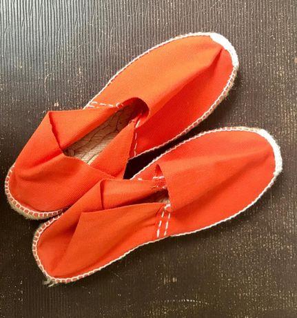 alpargatas de corda ARTESANIA #T37 #laranja #cosidas à mão #novas