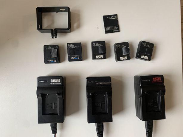 Baterie GoPro/Newell x5 / Ładowarki x3 / Klapka GoPro / Uchwyt GoPro