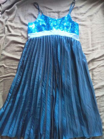 Натуральное шелковое платье нарядное пайетки 9-14 лет