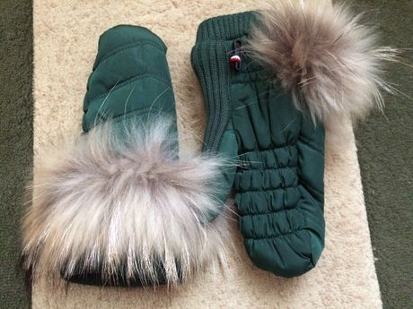 стильные женские зимние варежки с мехом лисы