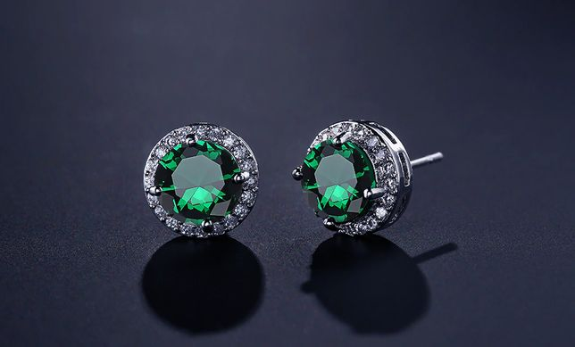 Nowe kolczyki z zieloną cyrkonią okrągłe sztyfy srebrny kolor