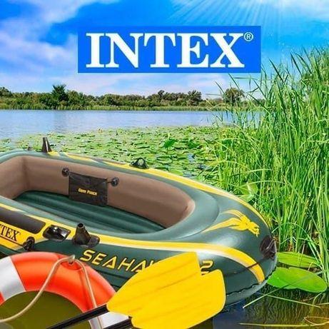 Лодка Интекс 2 местная 236 х 114 см с веслами и насосом