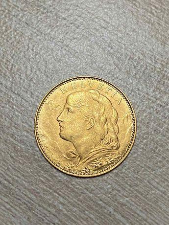 Золотая монета 10 франков Швейцарии, 1922 г.в. (2,9г чистого золота)