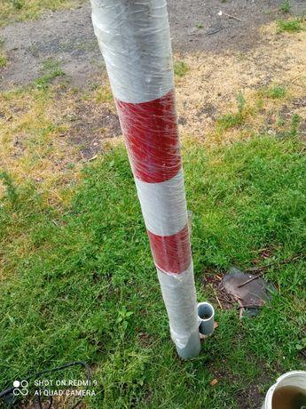 Słupki ostrzegawcze metalowe biało czerwone 7 sztuk