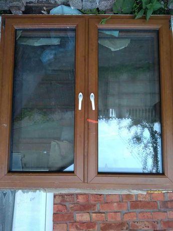 okno pcv dąb lustrzane zestaw 3 sztuki