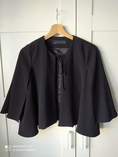 Zara Woman czarna narzutka blezer bolerko z szerokimi rękawami 36
