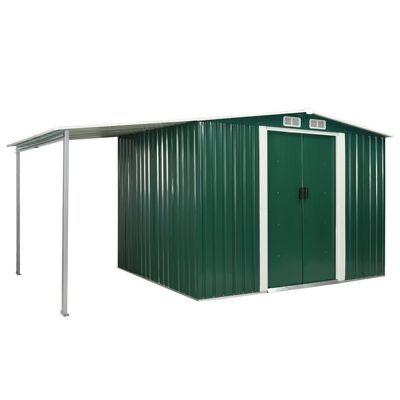 Abrigo jardim c/ portas de correr 386x205x178 cm aço verde