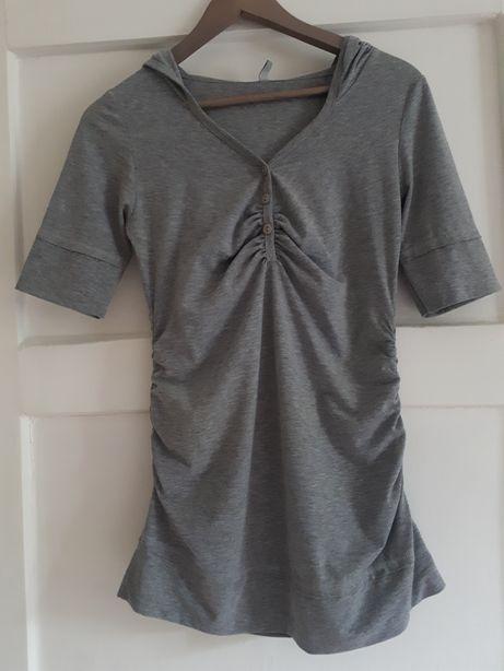 Bluzka koszulka ciążowa Be mama szara S/M z kapturem
