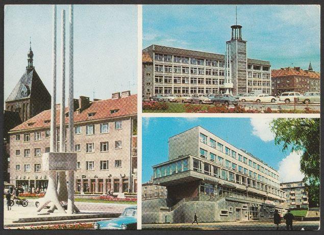 pocztówka - Koszalin 1972 - raTusz - pomnik XX-lecia - RUCH