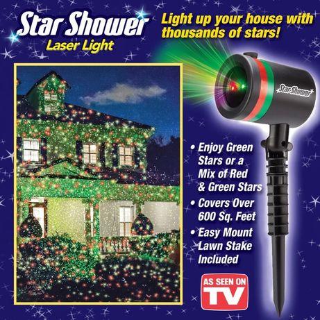 Мощный Лазерный проектор STAR SHOWER Laser Light, праздничное освещени