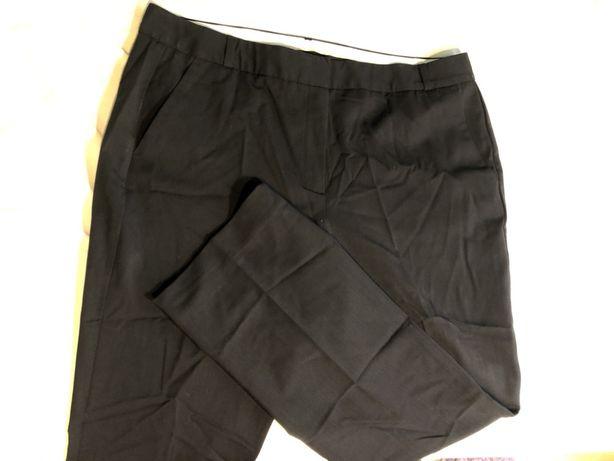 Spodnie garniturowe męskie ,czarne z dodatkiem wełny, w pasie 94 cm