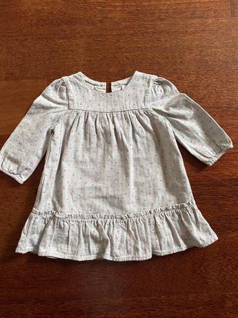 Sukienka The Little White Company bawełniana szara rozm 74
