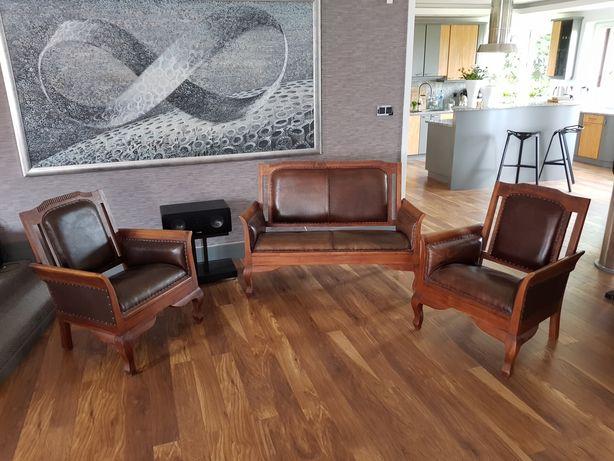 Zestaw mebli kolonialnych z drewna tekowego teak fotele kanapa skóra