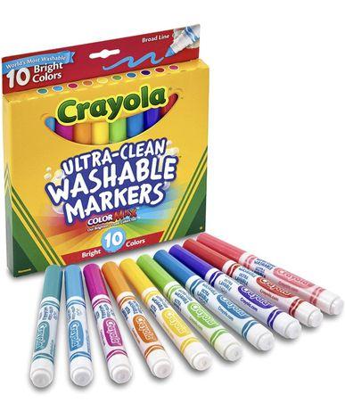 Crayola Ultraclean Broadline Bright Markers. Смываемые маркёры, неонов