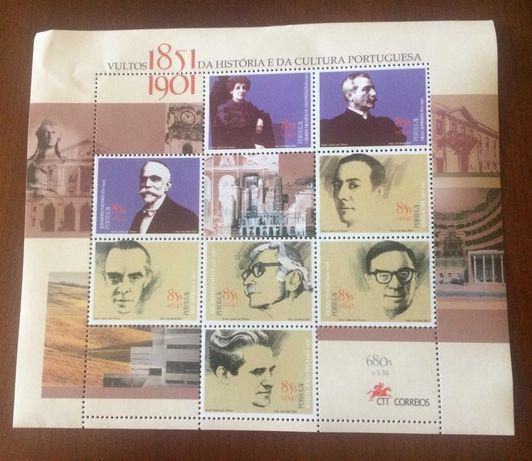 Blocos selos CTT Cultura Açores Brasil Património Museu Arte