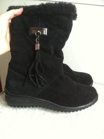 Кожаные замшевые сапоги ботинки зимние 37 в стиле zara девочке