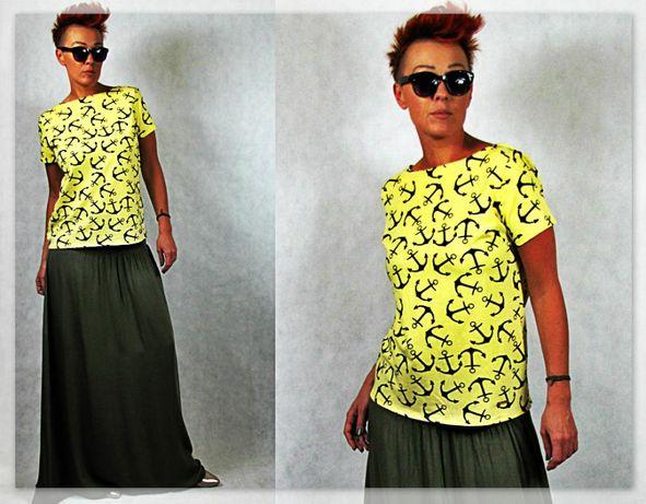 Nowość włoska bawełniana bluzeczka kotwice M/L Najnowsza Kolekcja
