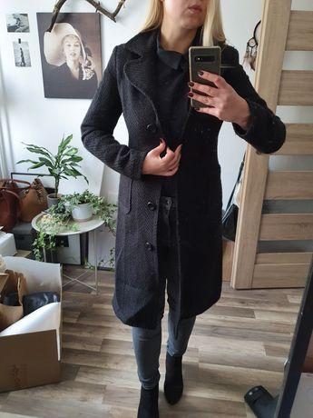 Czarny wełniany płaszcz, klasyczny , zimowy, rozm S/M