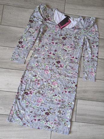 Krótka szara sukienka w kwiaty