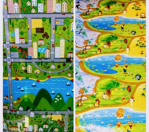 Детский коврик (каремат) 200x120 Мадагаскар, мультики, город (дороги)