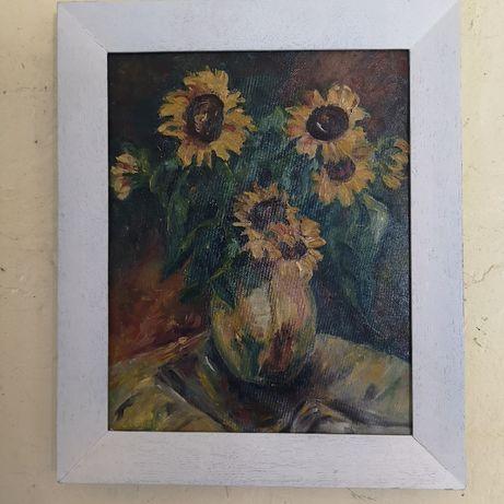 Obraz Słoneczniki olej na płótnie w oprawie. Cechowany