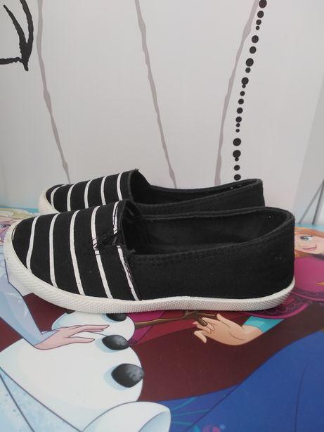 Buciki (buty, kapcie, espadryle, baletki) czarne w białe paski