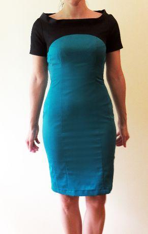 Elegancka, turkusowo-czarna, ołówkowa sukienka, rozm. 34 (#29)