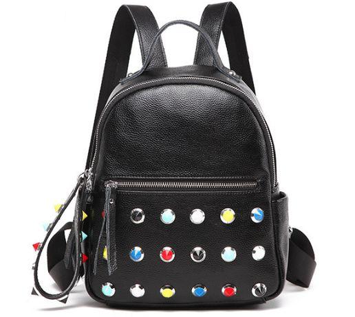 Рюкзак женский кожаный цвет черный, новая модель 2019.