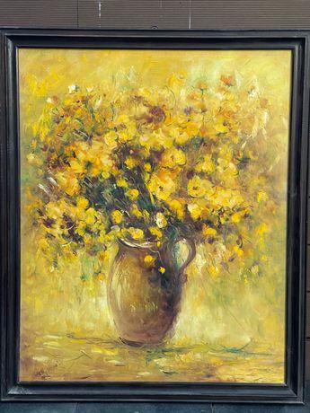 Duży obraz olej na płótnie kwiaty w wazonie