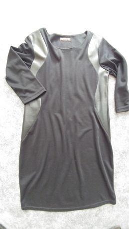 Sukienka z dzianiny do pracy na co dzień wstawki eko skóra czarna M L