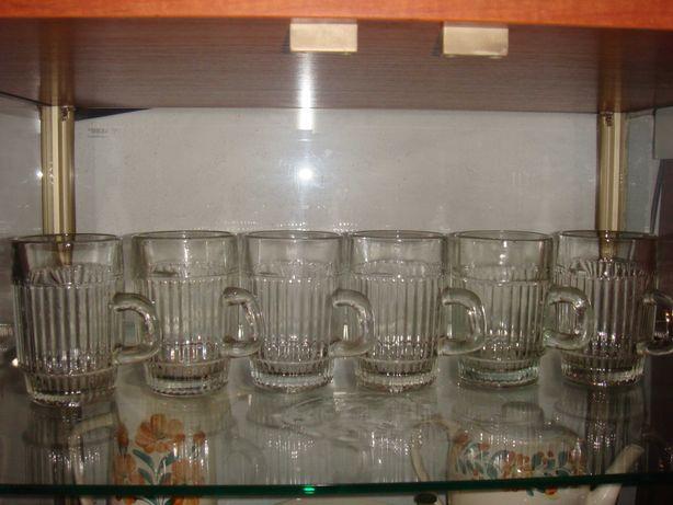 Kufle szklane do piwa 0,25 l zestaw 6 szt. PRL