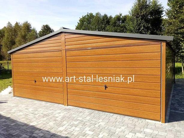 Garaż blaszany drewnopodobny 6x6m PREMIUM