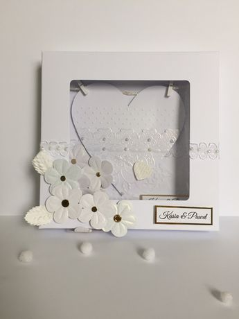 Kartka ślubna w pudełku ręcznie robiona pamiątka ślubu