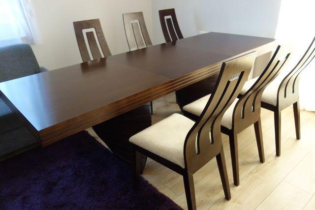 Oryginalny rozkładany stół bukowy oraz 6 krzeseł