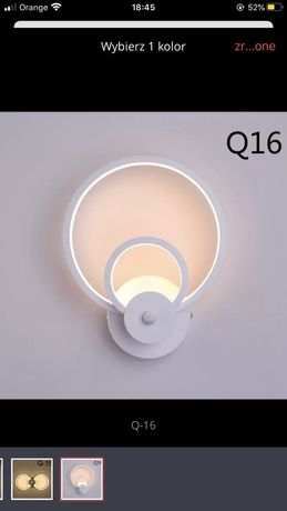 Lampa ścienna led koło biała styl skandynawski niwa