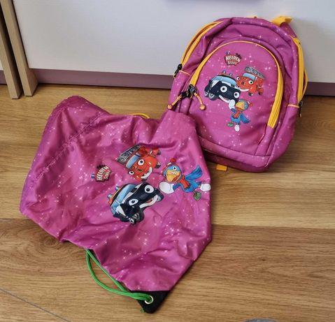 Nowy plecak różowy strażnicy miasta bajka worek na buty