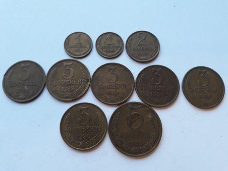 Монеты 1,2,3,15 копейки СССР