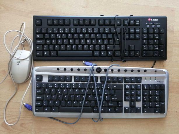 Teclados antigos Labtech e MK Plus e Rato AT&T (para peças)