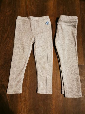 Leginsy Cocodrillo ocieplane i spodnie jeansy H&M rozmiar 86