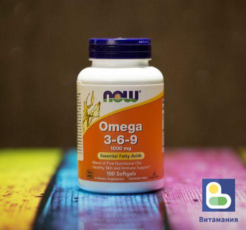 Омега 3 6 9, Now Foods, 1000 мг, 100 капсул