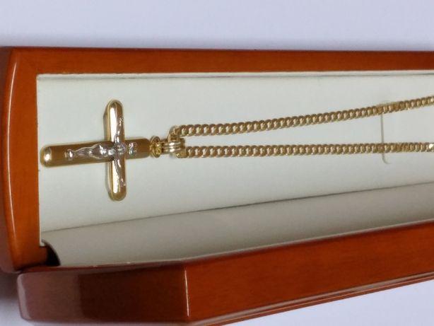 Nowy Piękny Złoty Męski Zestaw Łańcuszek Pancerka + Krzyżyk 0,585