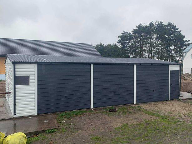 Garaż 11x6 antracyt biały poziomy panel brama 2.40 po otwarciu