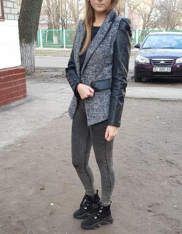 Пиджак кожаные рукава твид