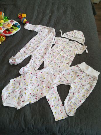Комплект новый (Боди, человечки, шапочки, штанишки), 0-3 месяца