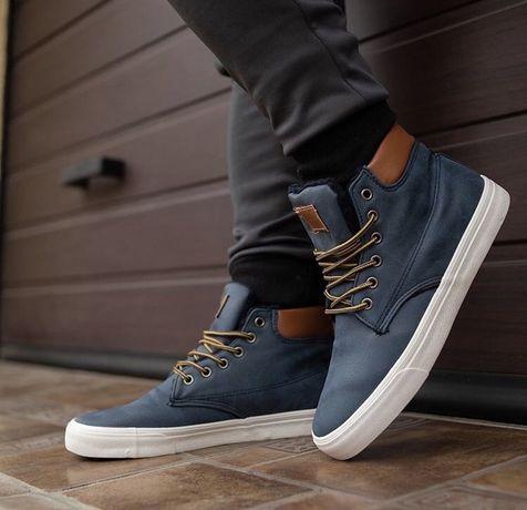 Зимние Мужские Кроссовки  на меху Ботинки (41-45 размер) blue