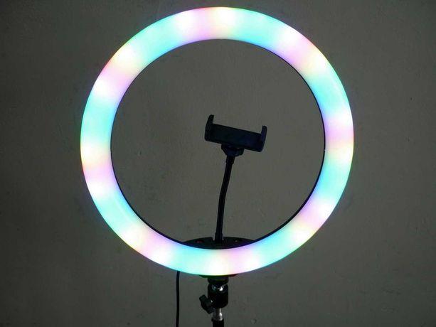 Кольцевая ргб лампа. С цветным свечением, на штативе, 33 см, 38 вт